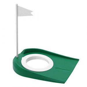 Aiggend Golf Putting Cup, Piscine intérieure et extérieure en Plastique de Golf avec Le Drapeau Blanc Trou réglable Putter Plate d'exercice