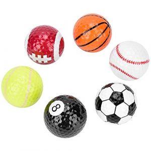 Alomejor 6 Pièces Balles de Golf Fantaisie avec Motif de Basket de Football de Volleyball Balle de Golf Double Couche Construction Balles de Golf Cadeau