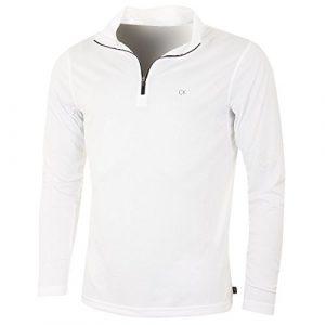 Calvin Klein Golf Mens Harlem 1/4 Zip Pull – Blanc – M
