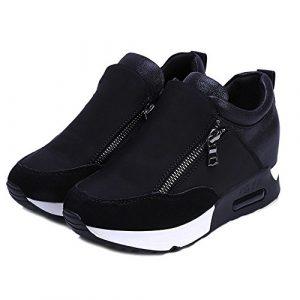 Chaussures de Sports Femme CIELLTE 2019 Mode Sneakers Baskets Haut Chaussures Plates Chaussettes Couleur Unie Stylish Léger Running Chic Stretch