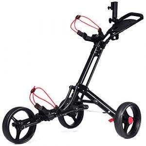 Costway Chariot de Golf 3 Roues Pliable Noiravec Porte-Parapluie et Porte-Tee en Aluminium Frein au Pied et Poignée Rembourrée Ajustable