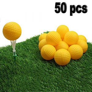 Crestgolf Balles de Golf Pratique en Plastique Durable Balles de Golf intérieures Creuses Balles extérieures Enfants Jouet Animaux Balles pour Le Plaisir, Paquet de 50 pièces-Jaune