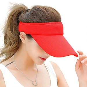 Fasbys Multiple Colors Sun Visors for Women and Men, Long Brim Thicker Sweatband Adjustable Hat for Golf Cycling Fishing Tennis Running Jogging and Other Sports (Red)