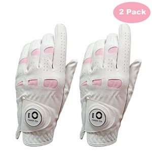 Finger Ten – Gant de golf en cuir cabretta pour femme – pour droitière ou gauchère – plusieurs tailles disponibles , blanc, moyen
