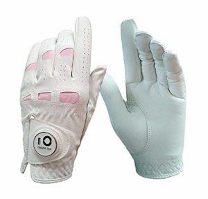 FINGER TEN Gants De Golf Femme Main Gauche Droite en Cuir Cabretta Marqueur De Balle, Gant Durable Confortable Doux Taille S M L XL (Main Gauche(Worn on Left Hand), S)