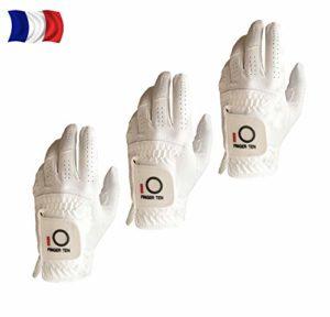 Gant De Golf Hommes Main Gauche Pour Golfeur Droitier Pluie PoignEe Paquet De 3,Gant De Golf Confortable Doux SynthEtique Taille S M L XL ML Blanc Noir (L–Main Gauche(Worn on Left Hand ), Blanc)