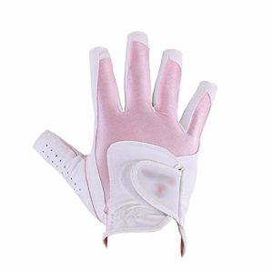 Gants de Golf Gants sans Doigts pour Femmes, antidérapants Gants de Pratique Souples et antidérapants Golf Doux et Respirants Gants Blanc Rose Gants de Sport (Color : Pink, Size : L)