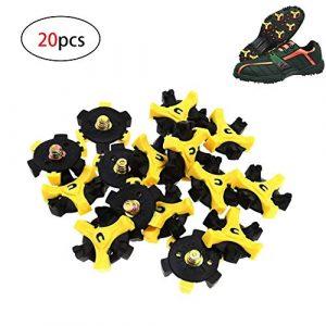 HPiano 20pcs Pointes pour Chaussures de Golf de Remplacement en métal Filetage Vis Clous Stinger Petite Métal à Filetage pour Golf Chaussures de Sport, Crampons pour Chaussures de Golf,Noir/Jaune