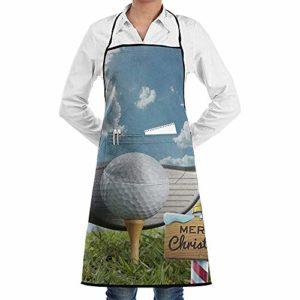 JESSA Balle de Golf et Club de Golf Tabliers de Noël Bavoir Grill Dentelle Tabliers de Cuisine pour Adultes réglables avec Poches