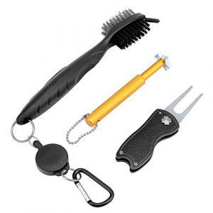 KEESIN Kit de Nettoyage pour Accessoires de Golf, Brosse pour Club de Golf, aiguiseur pour rainures de Golf, marqueur de Ligne de Balle de Golf, marqueur de Ligne