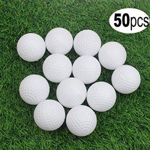 Kofull Balle de Golf Creuse en Plastique pour entraînement en intérieur Lot de 50 (4 Couleurs Disponibles), Blanc