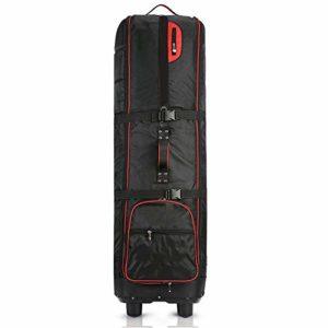 MICEROSHE Sac de Golf léger Sac De Golf Cover- Golf Voyage Sac Pliable Voyage Golf Portable avec Roue Légère Tissu Oxford (Couleur : Noir, Taille : 137X25x31cm)