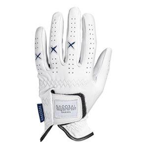 NAGORAL Gant de Golf en Polar White avec Une Grande Gamme de Couleurs Disponibles. 100% Cuir Cabretta de Haute qualité pour Un Grip Parfait et Une Bonne Prise en Main sur Le Parcours.