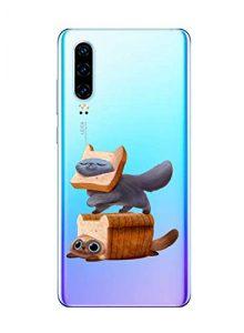 Oihxse Clair Case pour Huawei P9 Plus Coque Ultra Mince Transparent Souple TPU Gel Silicone Protecteur Housse Mignon Motif Dessin Anti-Choc Étui Bumper Cover (A2)