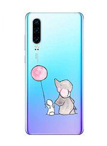 Oihxse Compatible pour Huawei P8 Lite 2017 Coque [Mignon Transparente Éléphant Lapin Motif Séries] Housse TPU Souple Protection Étui Ultra Mince Anti Choc Animal Case (A8)
