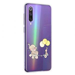 Oihxse Compatible pour Xiaomi Mi Max 3 Coque [Mignon Transparente Éléphant Lapin Motif Séries] Housse TPU Souple Protection Étui Ultra Mince Anti Choc Animal Case (A10)