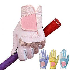 Ouqian Femmes Gant de Golf Anti-Slip Particules Respirables Confortable Wearable Mains Rose Bleu Violet Gants de Golf Jaunes de Gants de Golf Femmes Cool et Confortable (Couleur : Yellow, Size : 19)