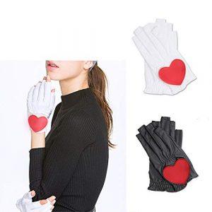 Ouqian Femmes Gant de Golf Gants de Golf Dames Slip Gants PU Respirant Usure Mains Exposed Ongles Gants Balle Amour Gants de Motif Cool et Confortable (Couleur : White, Size : 20)