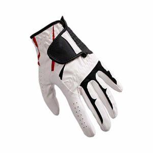 Ouqian Gant de Golf pour Hommes Blanc Respirante Extensible Paragraphe Mince Fournitures Golf Gauche Gants Finger Spring Hand Gants de Golf Hommes (Couleur : White, Size : 24)