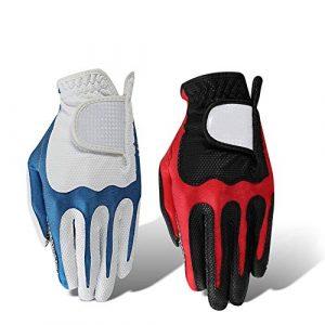 Ouqian Gant de Golf pour Hommes Gants de Golf Homme Main Gauche antidérapante PU Super élastique Sport Respirant Gants Noir Rouge Blanc Bleu (Couleur : Red, Size : L24)