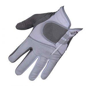 Ouqian Gant de Golf pour Hommes Gants de Golf Hommes Rainy Gants antidérapants Simple Gauche Gants en Tissu à la Main Antichute Gants de Doigts (Couleur : Gris, Size : 25)