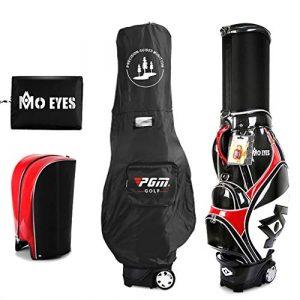 QJXB Sac De Club De Golf Sac de Transport pour Hommes 6 Way Divider Sac de Sport élégant Sac télescopique for Chariot de Golf Sac de Transport à roulettes,Black Red-34 * 26 * 126cm
