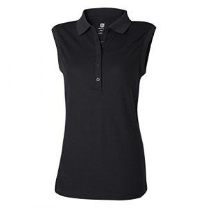 Wilson Golf Femme Polo de sport sans Manches, SLEEVELESS POLO, Polyester, Noir (Deep Black), Taille: M, WGA700320