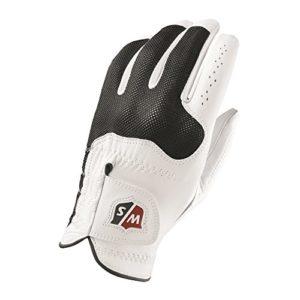 Wilson Staff WGJA00300S Homme Gant de Golf, Cuir Cabretta, Taille S, Main Gauche, MLH, Blanc/Noir, Conform