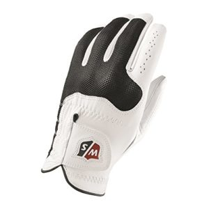 Wilson Staff WGJA00300XL Homme Gant de Golf, Cuir Cabretta, Taille XL, Main Gauche, MLH, Blanc/Noir, Conform