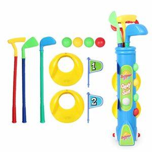 Yhjklm Jeu de Balle de Golf Ensemble de Golf pour Enfants de pour Enfants, 4 balles de Golf, 3 Types de bâtons, 2 Trous d'entraînement, Ensemble de Golf Parfait pour Les Enfants Jouets éducatifs