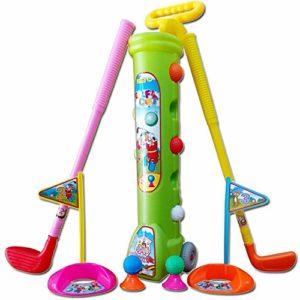 Yhjklm Jeu de Balle de Golf Ensemble de Golf pour Enfants de pour Enfants, 5 balles de Golf, 3 Types de bâtons, 2 Trous d'entraînement, Ensemble de Golf Parfait pour Les Enfants Jouets éducatifs