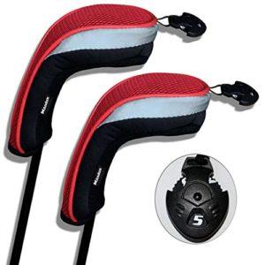 Andux 2pcs couvre de tête du club de golf hybride noir et rouge interchangeables NO. tag MT/hy01