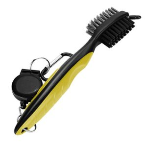 Bescita populaire Brosse de nettoyage de golf Club Groove Cleaner rétractable VIRB Elite Mousqueton, jaune