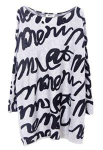 Bigood Pull Mi-long Femme Sweat-shirt Grande Taille Sweat Col Rond Manche Longue Chauffant Gris