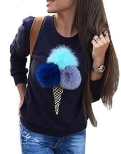 Bigood Pull-over Femme Pull Imprimé Sweater Manche Longue Sweat-shirt Col Rond Mignon Bleu Bust 102cm