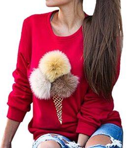 Bigood Pull-over Femme Pull Imprimé Sweater Manche Longue Sweat-shirt Col Rond Mignon Rouge Bust 94cm