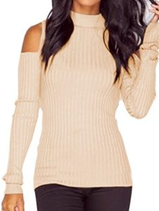 Bigood Sexy Pull Tricot Epaule Nue Manches Longues Sweat-shirt Slim Sweater Haut Automne Hiver Abricot Bust 94cm