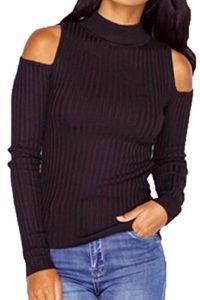 Bigood Sexy Pull Tricot Epaule Nue Manches Longues Sweat-shirt Slim Sweater Haut Automne Hiver Noir Bust 90cm