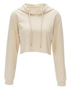 Bigood Sweat-shirt Court Femme Pull Coton Manche Longue Veste à Capuche Top Crop Casual Mode Abricot Bust 97cm