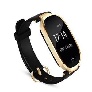 Bracelet Intelligent Femme AGPTEK W03 Tracker d'Activité avec Cardiofréquencemètre Podomètre Calories Sommeil – Bluetooth 4.0 Etanche IPX7 – Pour IOS 8.0 Android 4.3, Noir