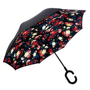 dolirox® Envers coupe-vent parapluie pliant Symétrie inversée Motif double couche et à debout à l'intérieur et à l'extérieur Protection Pluie Parapluie avec poignée en forme les mains libres, idéal pour voyager utilisation et voiture, Black Yellow Plaid