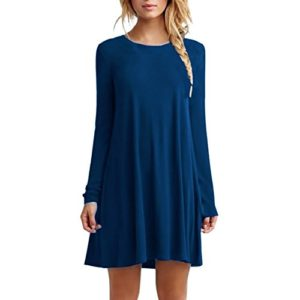 Etosell Femmes Occasionnel Longue Manches Encolure Ronde Mini Robe Chemisier