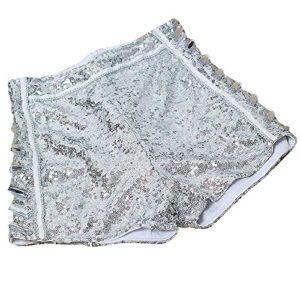Femmes Paillettes Argent Taille Haute Shorts Jazz Dancing Party Hot Pants Argenté L