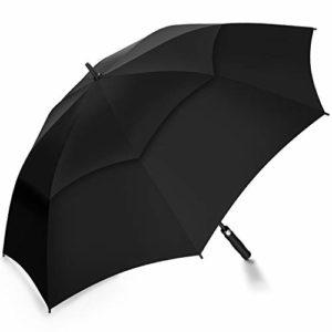 Grand Parapluie Automatique de Golf Noir TOMOUNT Solide Homme Femme Taille 62″ Anti UV Anti Retournement Tempête Vent – Noir
