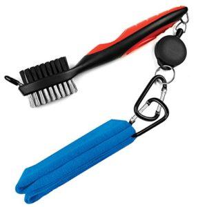 Leran, kit de nettoyage 2 en 1 de clubs de golf, serviette en microfibres et rétractable et brosse de golf avec mousqueton en aluminium., Blue towel