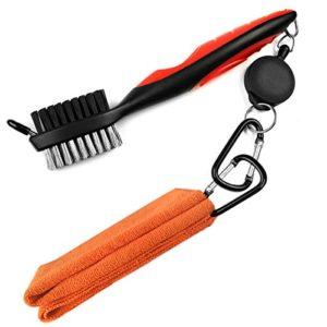 Leran, kit de nettoyage 2 en 1 de clubs de golf, serviette en microfibres et rétractable et brosse de golf avec mousqueton en aluminium., Orange towel