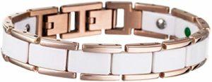 Lunavit Olymp Jade bracelet magnétique blanc/rosé-or, éléments en céramique encadrées avec titane, pures pierres Jade, néodyme-aimants à2000 Gauss, des pierres germanium Ge32 inclusivement boîte cadeau