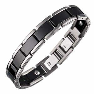 Lunavit Olymp Jade bracelet magnétique noir/argent, éléments en céramique encadrées avec titane, pures pierres Jade, néodyme-aimants à2000 Gauss, des pierres germanium Ge32 inclusivement boîte cadeau