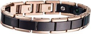 Lunavit Olymp Jade bracelet magnétique noir/rosé-or, éléments en céramique encadrées avec titane, pures pierres Jade, néodyme-aimants à2000 Gauss, des pierres germanium Ge32 inclusivement boîte cadeau