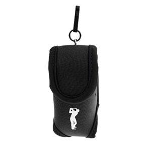 MagiDeal Élastique Néoprène Mini Sac de Taille Pochette Utilitaire Porte-balles de Golf Tees Clip-on avec Crochet – Noir, Taille unique
